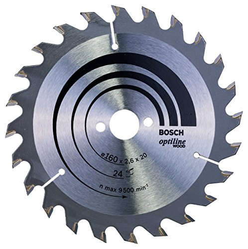 Bosch Professional Lame de Scie Circulaire, 24 Dents, 20mm d'Alésage, 2.6mm Largeur de Coupe, 1.6mm Épaisseur du Corps, 160mm Diamètre