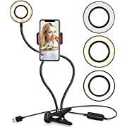 UBeesize Selfie Ring Light with Cell Phone Holder Stand for Live Stream/Makeup, Clip on, Flexible Arms