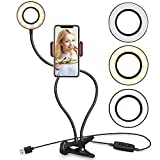 UBeesize Selfie Ring Light with Cell Phone Holder Stand for Live Stream/Makeup, LED Camera Lighting [3-Light Mode] [10-Level Brightness] with Flexible Arms Compatible with iPhone 8 7 6 Plus X Android