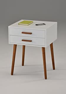 White / Dark Oak Finish Side End Table Nighstand with Two Drawer 24