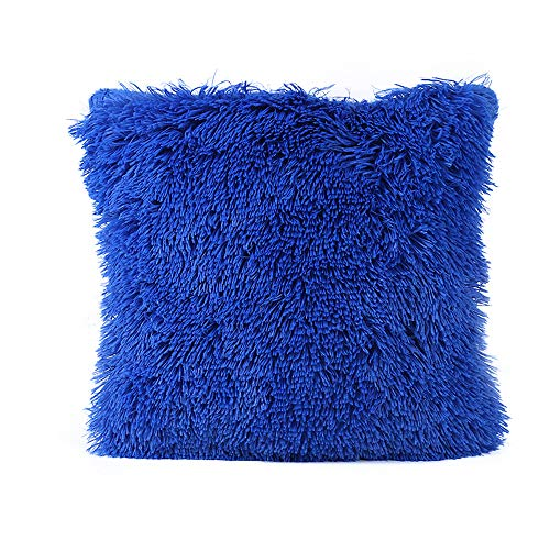 NJZYB 2PC Faux Fur Throw Pillow Covers, Plush Shaggy Ultra Soft Crystal Velvet Decorative Pillow Covers, Plush Cushion Case, for Bed, Sofa, Couch Bench, Car, 17 * 17inch,Blue