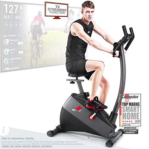 """Sportstech Ergometro ESX500 Marchio di qualità Tedesco- Eventi Video e Multiplayer App+5,5\"""" Display, Volano da 12KG, Compatibile Cintura pulsazioni -Cyclette silenziosa"""