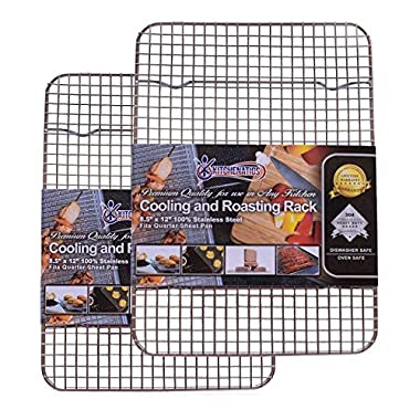 Kitchenatics 100% Stainless Steel Cooling, Roasting and Baking Racks fit Small Quarter Sheet Pans - Heavy Duty, Wire Metal Racks, Oven, Grill & Dishwasher Safe for Cooking, BBQ (8.5  x 12  - SET OF 2)