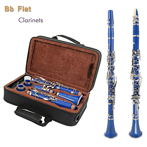 EastRock Clarinet Bb Flat 17 Nickel Keys,Blue Clarinet Durable and Lightweight Material with Mouthpiece,2 Barrels,Stand and Case - Gift for Friend/Parents/Student/Beginner