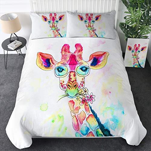 Sleepwish Colorful Giraffe Bedding Watercolor Zoo Animals Bed Set 3 Pieces Giraffe Kid's Bed Comforter Cover Giraffe Gift (Full)