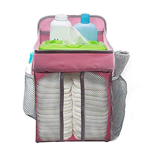 Novelfun Organizador colgante para pañales y guardería para cuna de bebé, Playard, cambiador, organizador de pañales para bebé Essentials y Baby Shower Regalos para recién nacido rosa rosa