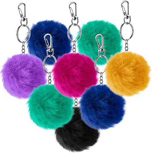 Pom Pom Keychains - Pack of 12 Bulk - Fuzzy 3 Inch Clip-On Key Chain Fur Balls in Assorted Colors, Soft Fluffy Faux Rabbit Fur Pompoms Balls for Girls and Kids