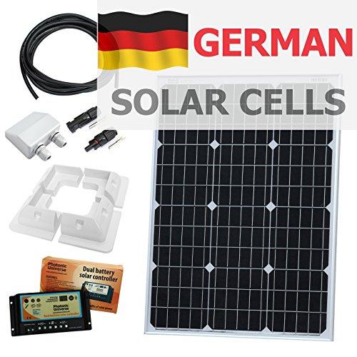 60 Photonic Universe double batterie solaire kit de chargement en allemand cellules solaires, avec contrôleur de charge 10 A, supports de fixation, étanche entrée de câble Gland, câbles et connecteurs