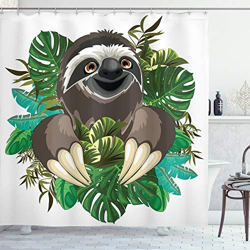 ABAKUHAUS Faultier Duschvorhang, Cartoon Säugetier Dschungel, mit 12 Ringe Set Wasserdicht Stielvoll Modern Farbfest & Schimmel Resistent, 175x200 cm, Schokolade Elfenbein Grün