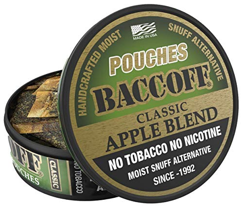 BaccOff, Classic Apple Blend Pouches, Premium Tobacco Free, Nicotine Free Snuff Alternative (1 Can)