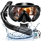 Arkmiido Scuba Diving Snorkeling Mask Snorkel Set Anti-Fog Anti-Leak Adjustable Dry Top Snorkel