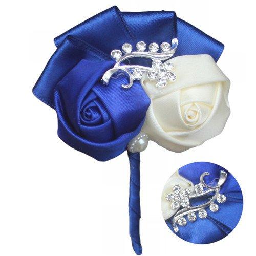Guiping Handamde - Traje de fiesta para hombre, diseño de rosas de satén, color azul real, talla 7 cm