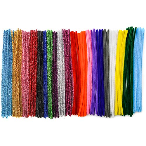 Toab Pfeifenreiniger, 400 Stück, 6 x 30 cm, Glitter, Pfeifenreiniger, Chenille-Garn, verschiedene Farben, Plüsch, für Kinder, zum Basteln und Dekorieren