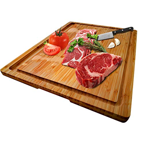 "Large Organic Bamboo Cutting Board With Special Design Juice Grooves For Kitchen, Reversible Chopping Board With Tray For Meats Bread Fruits, Carving Board BPA Free (17x12.6""-With Tray)"
