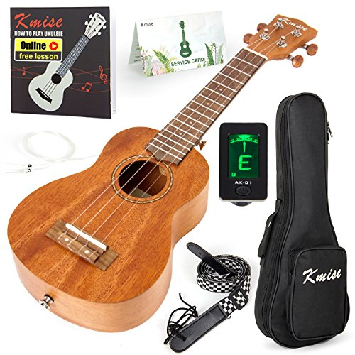 Kmise Soprano Ukulele Professional Mahogany Instrument 21 Inch Hawaiian Ukalalee for Beginner With Ukelele Starter Kit ( Free Online Lesson Bag Tuner Strap Replacement Strings Instruction Booklet )