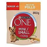 PURINA ONE MINI  10kg Crocchette Cane Senior 8+ Ricco in Pollo, con Riso - 8 sacchi da 800 g ciascuno
