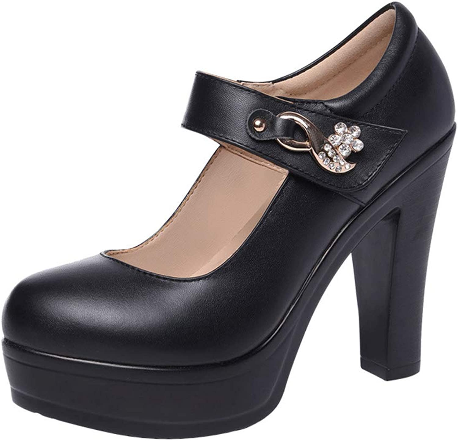 Women's Fashion shoes Rhinestone Platform shoes Work shoes Cheongsam Dress shoes Buckle shoes Party & Evening Black (color   Black, Size   34)