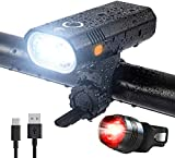 Super Bright 2 LED Bike Lights Set, USB Rechargeable Front and Back Rear