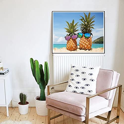 Yunzezka Pintar por Numeros Adultos Gafas De Sol con Forma De Piña Lienzo Pintura Al Óleo por Números Decoración De La Casa-Sin Marco 40x50cm