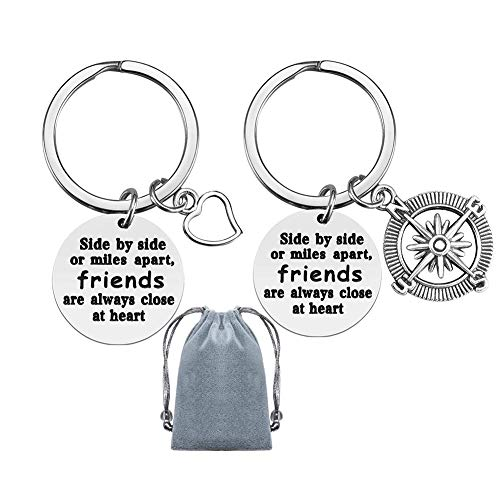 Best Friend Keychain,Appreciation Jewelry Keychain Thank You Gift for Best Friend Jewelry Gift Friendship Graduation Keychain Side by Side or Miles Apart Friends are Always Close at Heart for Friends
