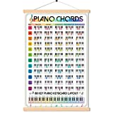 """Piano Chord Progression Guide Chart Poster Printed on Non-Tearing Waterproof Canvas Music Wall Art For Beginners With Hang Frame 16""""x24"""""""
