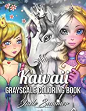 Kawaii Grayscale: An Adult Coloring Book with Beautiful Anime Portraits, Mythical Creatures, and Fantasy Scenes