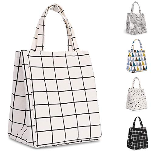 Buringer Insulated Lunch Bag with Inner Pocket Printed Canvas Fabric Reusable Cooler Tote Box for Ladies Woman Man School Work Picnic (Upgraded White Plaid)