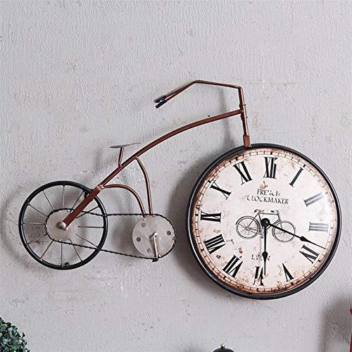 YSJJUSZ Reloj de Pared Bicicleta Retro Relojes de Pared Mural de la Pared de Colgante del Reloj Living Room Decor Reloj Pendiente de la Vendimia de la Personalidad Adornos decoración del hogar