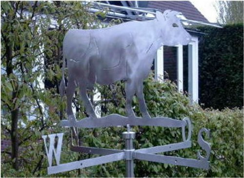 Mittelgroße Wetterfahne Kuh aus Edelstahl