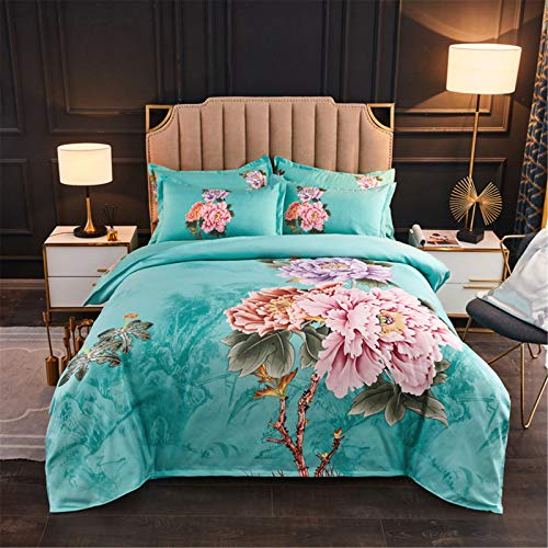 YYSZM 4-Piece Set Of Home Textiles And Bedding Cashmere Cotton Big Flower Thickening Soft Skin-Friendly 4-Piece Suit
