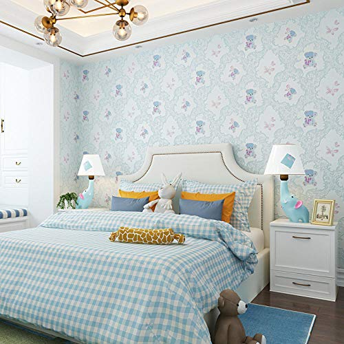 Vliesbehang, zelfklevend, schattig, comic-beer, warm, roze behang, zonder lijm, voor kinderkamer, slaapkamer, wandvloer, 1 rol / specificatie: 5 m x 0,53 m 1082 Blue