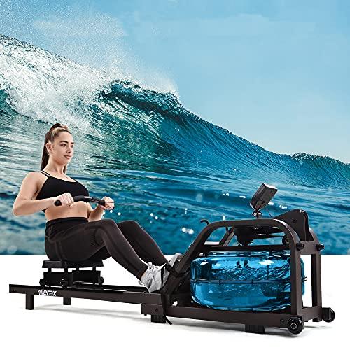 ModernLuxe Wasser Rudergerät für Heimgymnastik, Water Ruderzugmaschine mit regulierbarem Wasserwiderstand,Wasserrudergerät Wasser Widerstand mit LCD-Monitor, Double-Slide-Konstruktion
