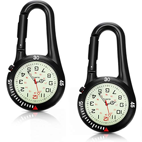 2 Pieces Clip-on Quartz Watch Backpack Fob Belt Watch Glow in The Dark Unisex Pocket Watch with White Dial for Doctors Nurses Outdoor Activities (Black)