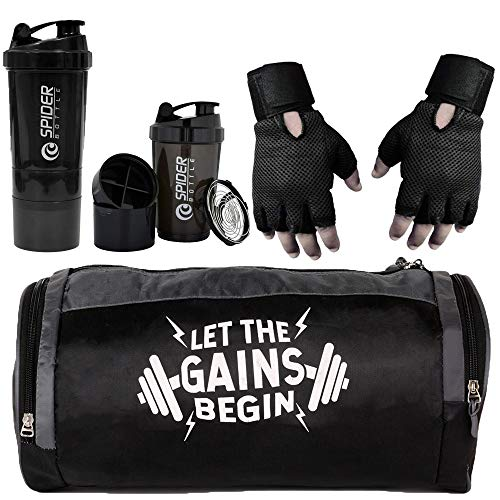 5 O' CLOCK SPORTS Combo of Gym Bag with Shoe Compartment,Gym Gloves...
