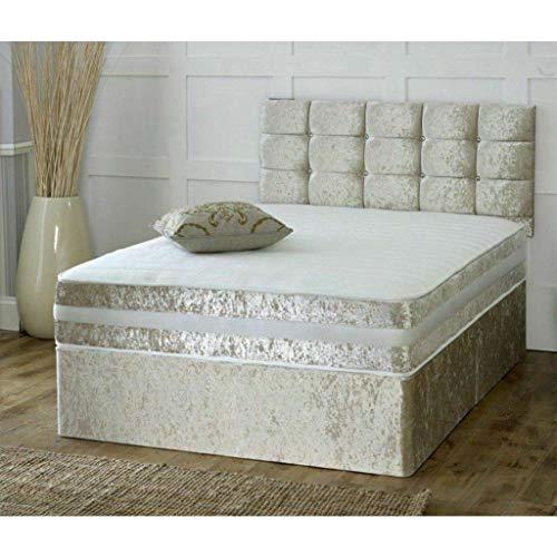 ADHW Juego de cama doble de tela de lino, marco de madera dura, cama doble individual con colchón y cabecero, muebles de dormitorio (color: champán, tamaño: 3 pies)