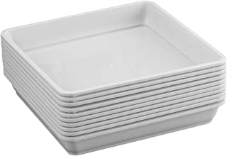 Yardwe 10 PCS Square Plastic Plant Saucer Tray Plant Pot Saucer Flower Pot Tray for Garden Potted Water Drips and Soil 5.9 x 5.9 x 1.1 Inch (White)
