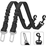 XIRGS Dog Seat Belt, 2PCS Adjustable Safety Belt in Car Vehicle, Elastic Bungee Dog Car Seatbelt, Metal Buckle Buffered Reflective Nylon Belt Tether Connected to Pet harness lead Car(Black)