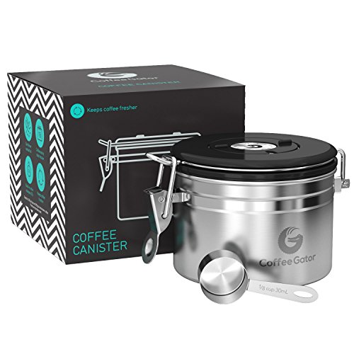 Coffee Gator Stainless Steel Container - Canister with co2 Valve and Scoop - Small, Silver