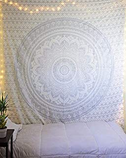 Jaipur Handloom Grey/Silver Mandala Hippie Wall Hanging Twin Silver Ombre Tapestry Wall Hanging Mettalic Ombre Bedding Mandala Tapestry with Extra Metallic Shine Tapestries