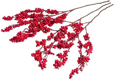 Emerald künstlicher Beerenzweig mit vielen, roten Beeren (3 Stück)