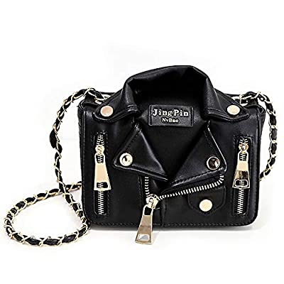 Sfly Women Chain Motorcycle Shoulder Rivet Jacket Bags Messenger Bag Leather Handbags for Girls Black,