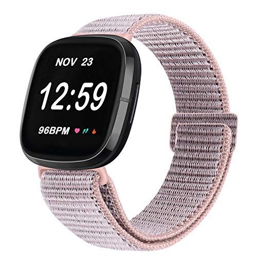 Vodtian Correa ajustable de nailon, compatible con Fitbit Versa 3/Fitbit Sense, correa de repuesto para reloj deportivo para hombre y mujer (arena rosa)