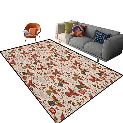 Angel Outdoor Patio Rug Medieval Marry Love Angel Playing Music Valentine Cupid Date Dove Marriage Cute Floor Carpets Kids Playing Mat for Bedroom 5.3'x 7.5'