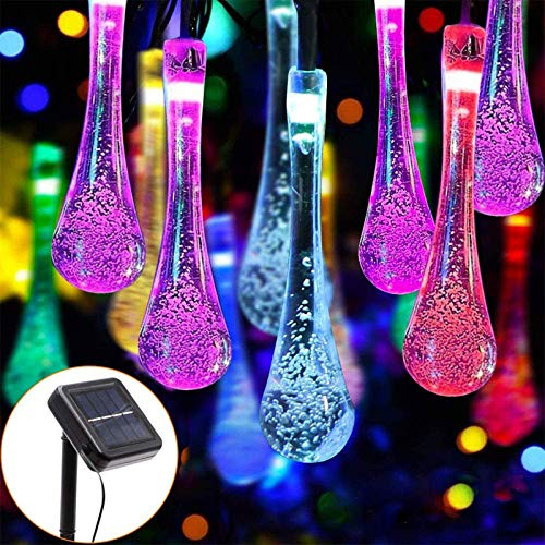 Poachers 20 Feet 30 LED Multi Color Solar Powered Fairy Lights String Water Drop Outdoor Garden Waterproof Crystal Raindrop Decorative for Terrace Patio Fence Christmas Parties Yard