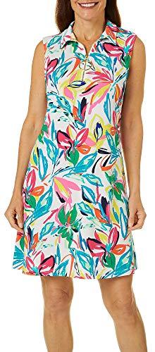 MSK Womens Floral Design Zip Neck Sleeveless Swing Dress X-Large Multi