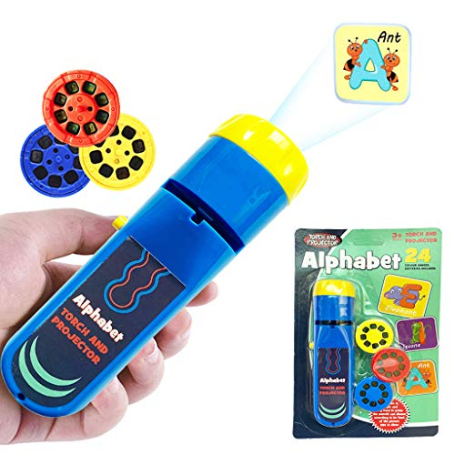 Wenosda Diaprojektor Taschenlampe Projektionslicht Spielzeug Taschenlampen Lampe Taschenlampe Schlafenszeit Nachtlicht für Kinder,(24 Bilder) (26 Buchstaben)
