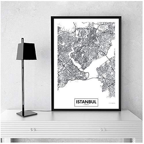 Ciudad moderna Estambul tarjeta lienzo pintura en blanco y negro pared arte impresión póster imágenes para sala de estar decoración del hogar- 50x70cm sin marco