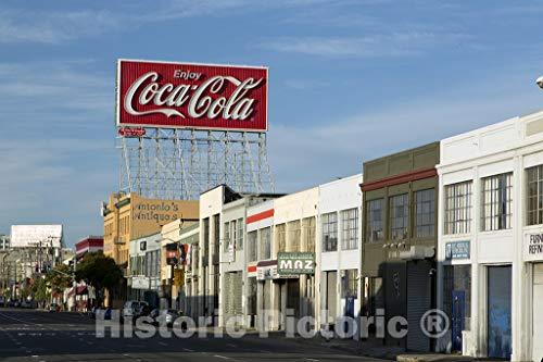 Historic Pictoric San Francisco, CA Photo - Red Coca Cola Sign in San Francisco, California - 12in x 8in