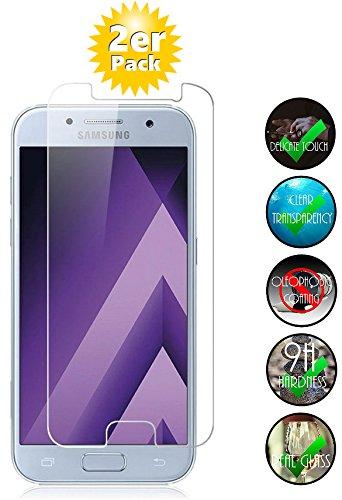 Smartphone-Equipment [2er Pack] Panzerglas für Samsung Galaxy A7 2017 Echt-Hartglas 9H, Glasfolie Schutzfolie Glas Folie Panzerfolie Bildschirm Schutz