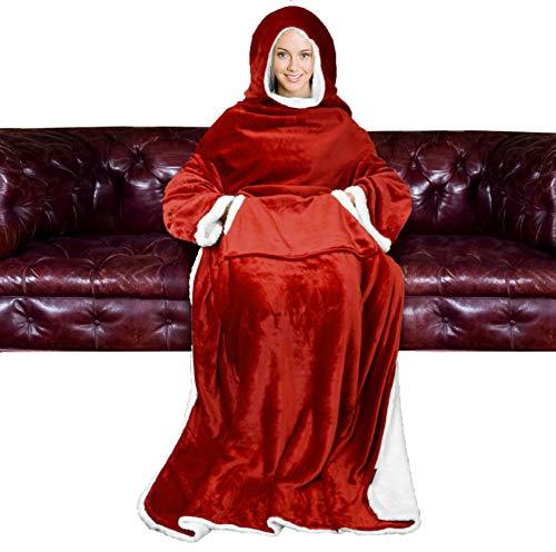 Catalonia Sherpa Hood Tragbare Decke für Erwachsene Frauen und Männer, Superweiche, Bequeme, warme Plüschdecke mit Ärmeln TV-Decke Wickel Robe Hoodie-Abdeckung für Lounge Chair Couch 185x140cm, Wein